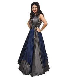 Shree Women's Silk Unstitched Lehenga Choli (SRENT008_Multi-Coloured_Free Size)