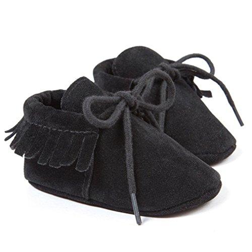 Ouneed Baby Newborn Girl Boy Scrub Solid Tassels Bandage Shoes Toddler Soft Sole Anti-skid Crib Shoes
