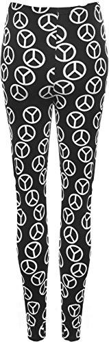 PaperMoon - Legging, symbole de paix - Leggings - Femme - Grandes Tailles 40-54 Noir