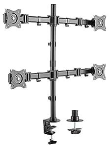 RICOO Monitor Multimonitor Stand TS6011 Halterung 4 Bildschirme Schwenkbar Neigbar Monitorhalterung Tischhalterung LCD LED TFT Curved Bildschirmhalterung VESA 75x75 100x100 33-69cm 13-27 Zoll Schwarz