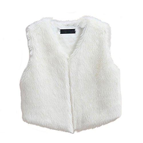 Braune Fell Weste (VLUNT Damen Fellweste Weste Frauen Lederweste Fellweste Faux Fur Vest Gilet Waistcoat Winter)