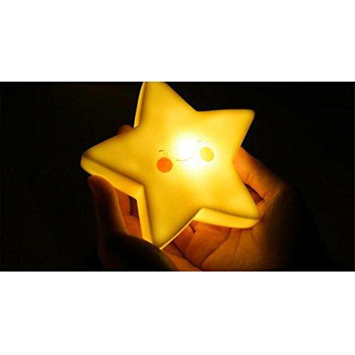 IHRKleid® LED Motiv Mini Star Light - Sternenlicht Nachttisch Lampe für Kinder und Babys,LampeNachtlampe/Kinderlampe/Nachtlicht/Wandleuchte für Schlafzimmer - Batterie (Gelb)