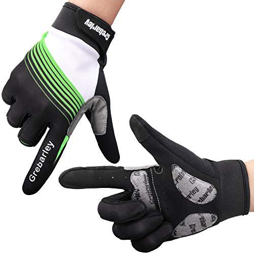 Grebarley Fahrradhandschuhe,Stoßdämpfende Radsporthandschuhe,Mountainbike Handschuhe mit Touchscreen Finger für Radsport,MTB Road Race,Downhill,Wandern,Geeignet für Männer und Frauen (S) Finger-touch Screen