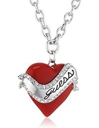 Guess Damen-Halskette Silberfarben Rhodiniert Anhänger mit Weien Schmucksteinchen 80 cm UBN81131