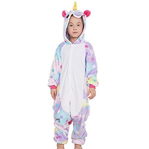 CuteOn Children's Karnevalskostüme Kids Flanell Pegasus Kigurumi Strampelanzug Tier Cosplay Star Pegasus 125(Empfohlen Höhe 135cm-145cm)