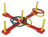 12-tlg. Ringwurfspiel, Kreuz mit 5 Wurfringen, Wurfspiel, Spielzeug