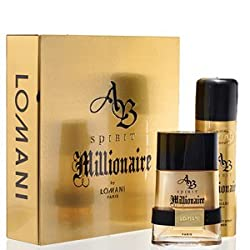 AB SPIRIT MILLIONAIRE by Lomani 2 Piece Gift Set for MEN Eau De Toilette Spray 3.4 Oz. + Deodorant Spray 6.6 Oz. (GREAT HOLIDAY GIFT) + FREE GIFT WRAPPING