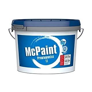 McPaint Wandfarbe Premiumweiß für den Innenbereich, matt 1 Liter, weiß, hochwertige Wandfarbe, beste Deckkraft, universelle Innenfarbe, bis zu 8m² - weitere Größen verfügbar