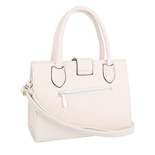 iTal-dEsiGn Damentasche Mittelgroße Schultertasche Handtasche Kunstleder TA-C2220 Creme