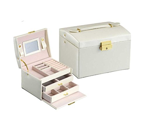 Di Grazia Jewellery Storage Box, 3 layer Watch Ring Earrings Organiser Portable box , with Lock & Key (Beige, Beige-3layer-Jewellery-Box)