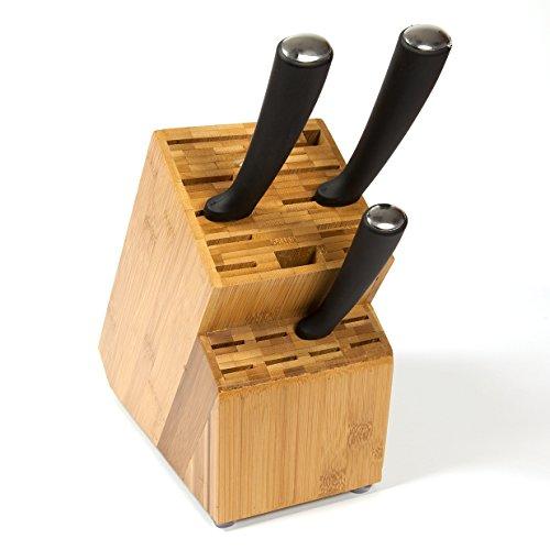 woodluv Universal Messerblock aus Bambus, ohne Inhalt, 19 Schlitze
