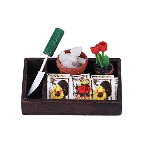 Zerodis Miniatur Gartenbau Box 1:12 Puppenhaus Mini Gartenbau Garten Box Landwirtschaft Werkzeuge Modell Gartengeräte Kinder DIY Zubehör