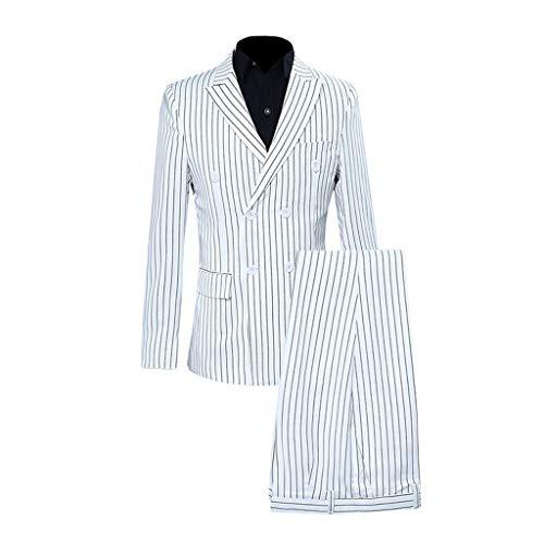 Precioul Herren Anzug zweiteilig Schalkragen Klassischer einfarbiger Herrenanzug mit gestreiftem Zweireiher 1pc Anzugjacken + 1pc Hose Tweed Topper