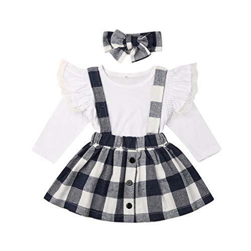 Kleinkind Kinder Baby Mädchen Plaid Lace Tops Tee Hosenträger Röcke Stirnbänder Outfits