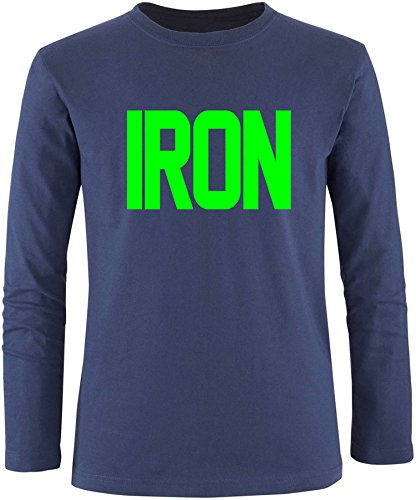 EZYshirt® Iron Herren Longsleeve Navy/Neongrün