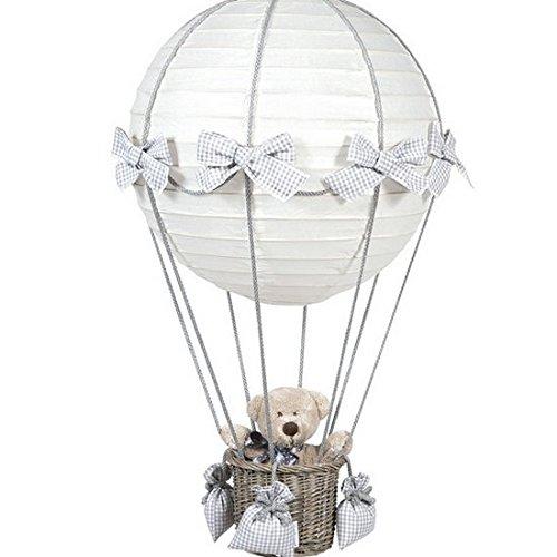 Pasito a pasito Lampe montgolfière Vichy Gris Base Grise