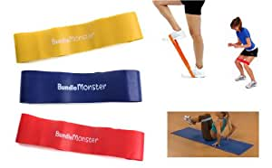 Bundle Monster 3pc New Resistance Loops Home Gym Exercise Pilates Yoga Stretch Band Set-Light/Medium/Hard
