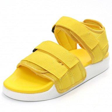 zhENfu Donna Sandali Comfort suole di luce PU abiti estivi Comfort suole luce gancio & ansa tacco piatto Ruby giallo piatto nero Yellow