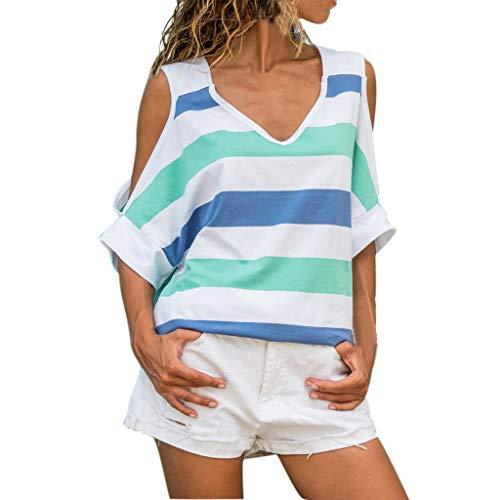 VJGOAL Damen Shirt, Sommer Top Frauen Mädchen Freizeit Strand Streifen Kurze Ärmel V-Kragen Bequem Weich Bluse (Blau,36)