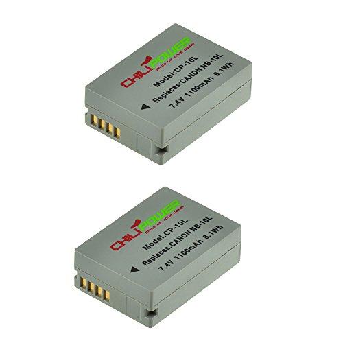 2x ChiliPower NB-10L Batteria (1100mAh) per Canon Powershot G1 X, G1X G15, G16, SX40 HS, SX50 HS, SX40HS, SX50HS, CB-2LC