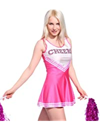 Rosa Cheerleader Kostuem Uniform Cheerleading Cheer Leader mit Pompom Minirock GOGO Damen Maedchen Karneval Fasching