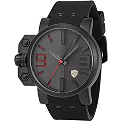 Shark Military Red 3D Dial Black Men's Sport Silicone Quartz Wrist Watch SH172
