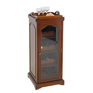 Antike Fundgrube Weinregal Flaschenregal Minibar Massivholz mit Tablett Nussbaum-Farbton (3779)