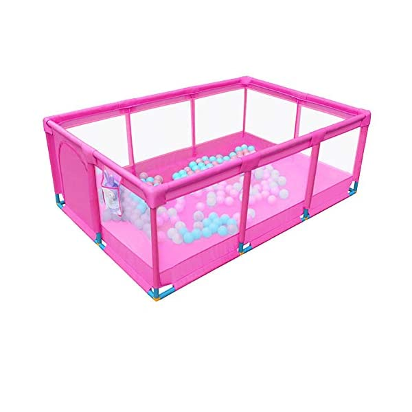 Playpens Portable Baby Pink,Kids toddler Indoor Outdoor Safety Game Playard Fence, 190×128×66cm (Size : Fence+200ball+mat) Playpens  1