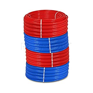 Pexflow PEX Potable Water Tubing Combo - PXKT-RB50034 3/4 Inch X 500 Feet Tube Coil for Non-Barrier PEX-B Residential & Commercial Hot & Cold Water Plumbing Application (1 Red + 1 Blue)