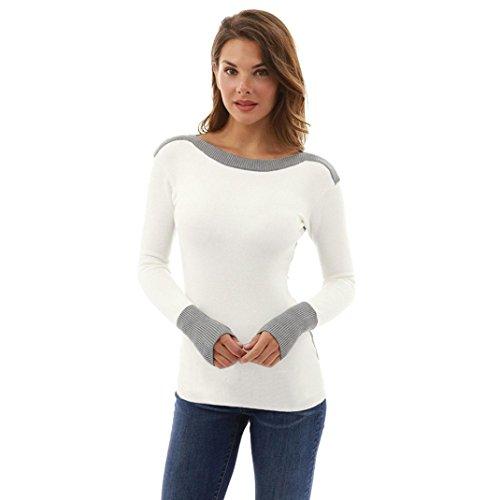 Pullover Winter Damen Sunday Reizvolle Kampf Farben lange Hülsen Pullover Strickjacken Blusen Oberseiten (M, Weiß)