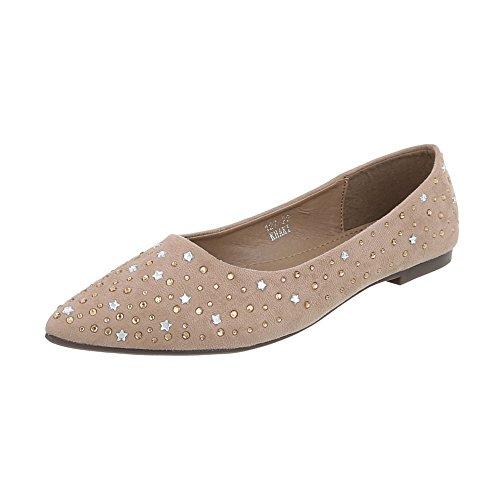 Ballerine Classiche Scarpe Da Donna Ballerine Classiche Tacco Grosso Strass Borchiate Design Ital Ballerine Beige 127-22
