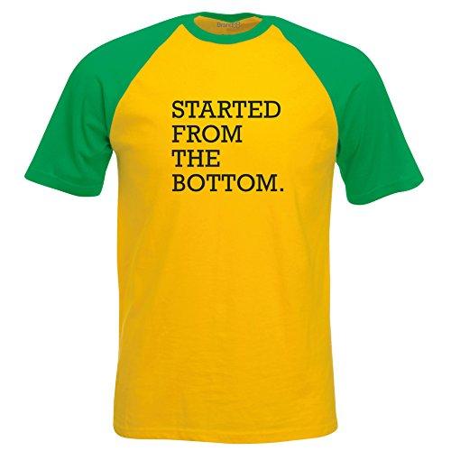 Young Money-shirt (Started From The Bottom, Kurzarm Baseball T-Shirt - Gelb & Gruen M ( 96-101 cm ))