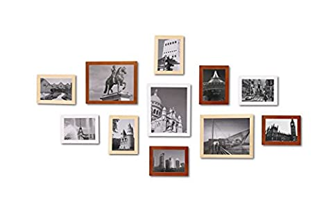 Collage Frame WOOD MEETS COLOR Mult Photo Frame Wall Picture frames for 11 photo Certificate Photo , Including White Picture Mats and Installation Instruction, 3-20×25CM, 8-12.5×17.5CM (Original ,Walnut