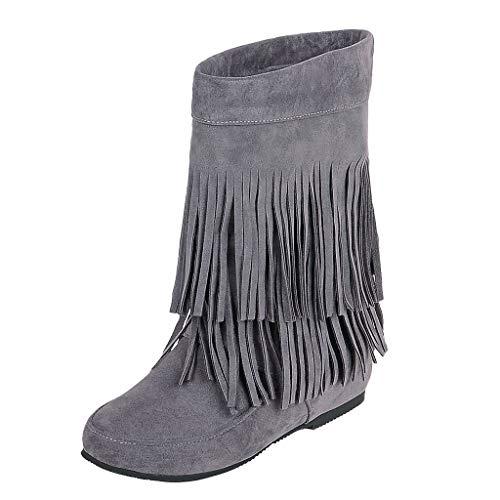 Fransen Stiefel Damenmode erhöht flachen Boden kleinen Hang mit kurzen Stiefeln gefrostet Wildleder Stiefel Größe Winter elegante Mode