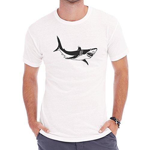 Shark Sea Fish Predator Black Swim Big Herren T-Shirt Weiß