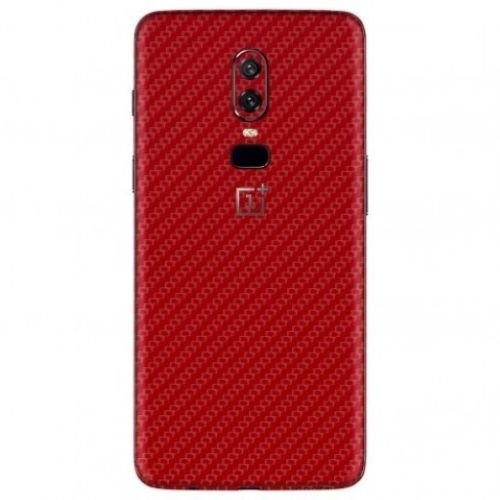 Smartskkins Mobile Skins Compatible with Oneplus 6 for Back and Sides (Red Carbon Fibre)