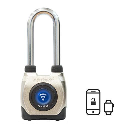 eGeeTouch Outdoor Smart Vorhängeschloss 3. Generation, wetterfest, Bluetooth + NFC, langer Bügel