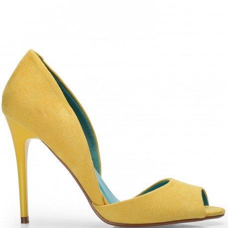 Ideal Shoes - Escarpins peep toe effet daim Jalila Jaune