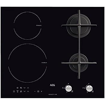 AEG - Piano cottura misto ad induzione ea gas HD 634170 NB finitura nero da  60cm