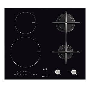 AEG–HD 634170NB – Encimera de cocina mixta a inducción y gas, acabado en color negro, 60cm