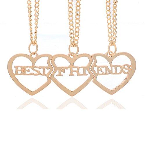 MJARTORIA Femme Bijoux Collier Chaîne Amitié Meilleur Ami Best Friend Pendentif Forme Coeur Puzzle Couleur Or Clair 3 Pièces