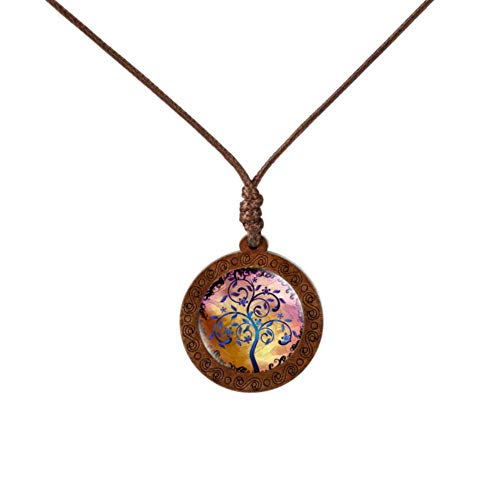 Bronze-sechs Leichte Runde Anhänger (Uofr Holz Glas Cabochon Halskette Lebensbaum Anhänger Halskette Vintage Bronze Kette Halskette Frauen Schmuck, 6)