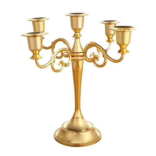 Gold Kandelaber (Hosaire 1x Metall Kerzenhalter 5-armig Kerzenständer Kandelaber Vintage Hochzeits Tischdekoration Gold 26.5 * 27cm)