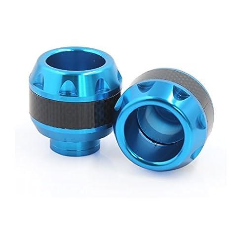 DealMux 2pcs Carbon Fiber Pattern Motorcycle Front Wheel Drop Resistance Fork Cups Blue