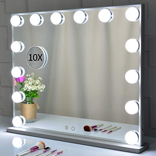 Hollywood Kosmetikspiegel mit Beleuchtung,beleuchtetem Make-up-Dressing an der Tischplatte oder an der Wand befestigten Kosmetikspiegeln mit abnehmbarem Kosmetikspiegel mit 10-facher Vergrößerung -