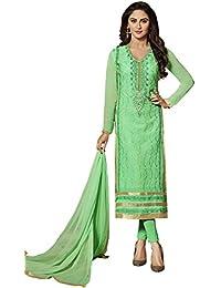 VARAYU Women's Green Cotton Satin Partywear Semistitched Straight Suit(600DJ9013,Green)