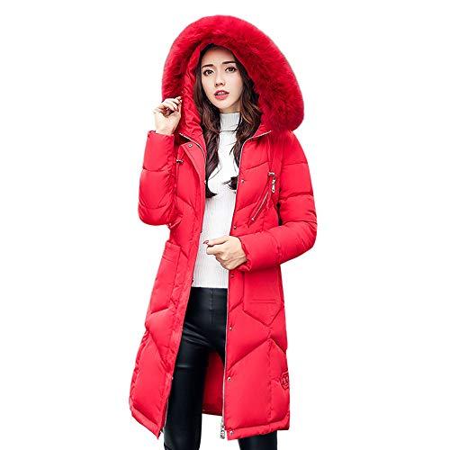 (iHENGH Vorweihnachtliche Karnevalsaktion Damen Winter Jacke Dicker Warm Bequem Parka Mantel Kapuze Lange Baumwolle gepolsterte Lässig Stilvoll Slim Taschen Luxus Frauen Coat (EU-40/CN-M,Rot))