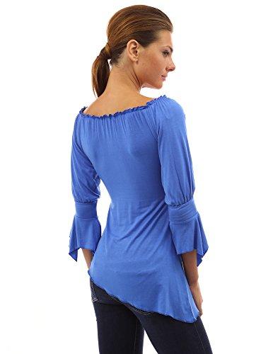 PattyBoutik Femme asymetrique chemise avec manche mi-longue Bleu