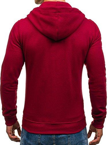 BOLF - Felpa – Con cappuccio – A zip – Stile sportivo – Di cotone – Con tasche – Da uomo [1A1] Marrone