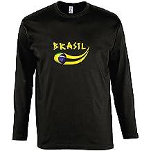 Supportershop–Camiseta para hombre L/S negro Brasil fútbol, T-shirt homme L/S noir Brésil, negro, FR : S (Taille Fabricant : S)